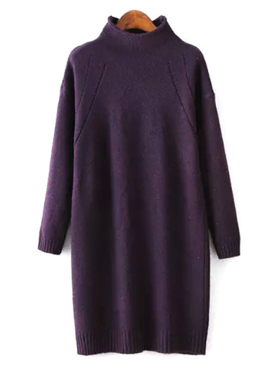 fashion Half-Collar Loose-Fitting Sweater Dress - DEEP PURPLE ONE SIZE(FIT SIZE XS TO M)