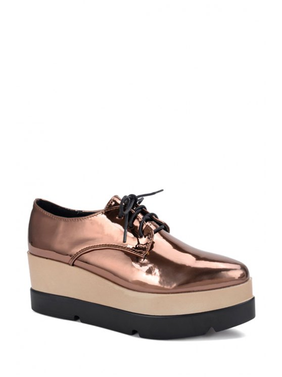 Patent Leather Solid Color Platform Shoes - Marrón 35