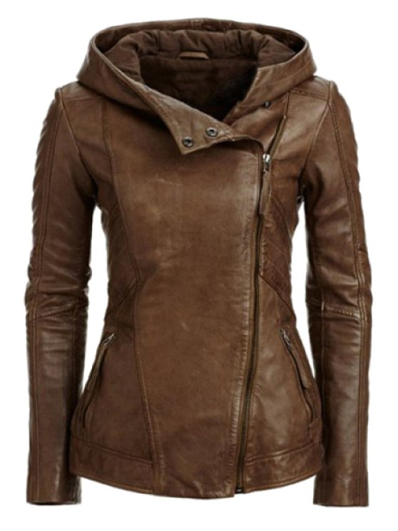 women's Hooded Zip Pockets PU Leather Jacket - COFFEE L
