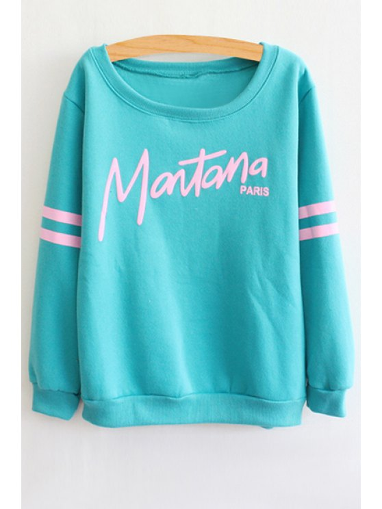 chic Letter Print Round Collar Stripe Sweatshirt - AZURE ONE SIZE(FIT SIZE XS TO M)
