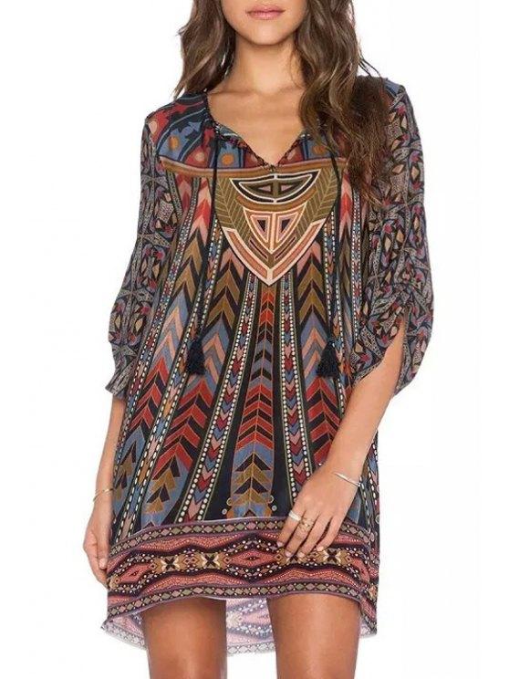 sale Lace Up 3/4 Sleeve V-Neck Retro Print Dress - COLORMIX M