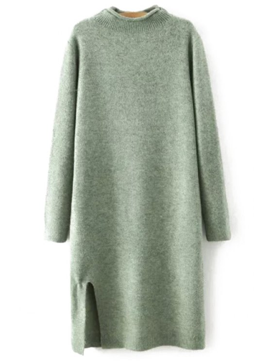 Side Slit Stand Neck Long Sleeves Sweater Dress - GREEN L Mobile