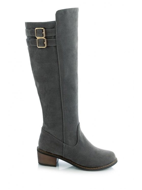 buy Double Buckles Suede Knee-High Boots - GRAY 34