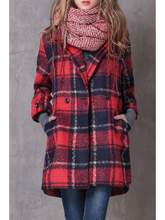 women's Checked Turn-Down Collar Wool Coat - RED L