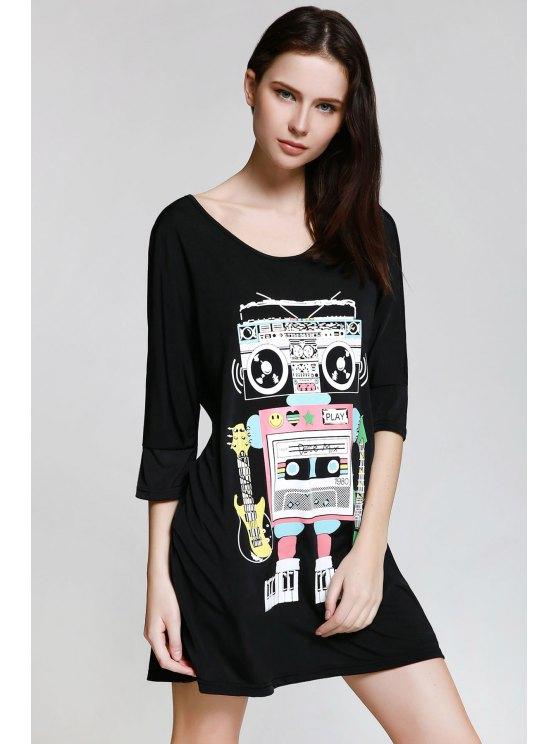 best Scoop Neck Robot Print 3/4 Sleeve Dress - BLACK S