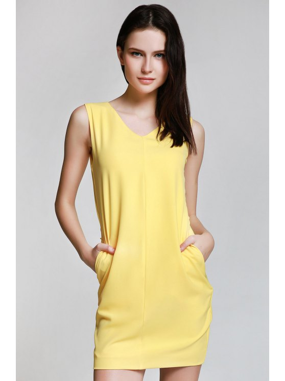 outfit Sleeveless Spliced Metal Button Yelllow Dress - YELLOW S