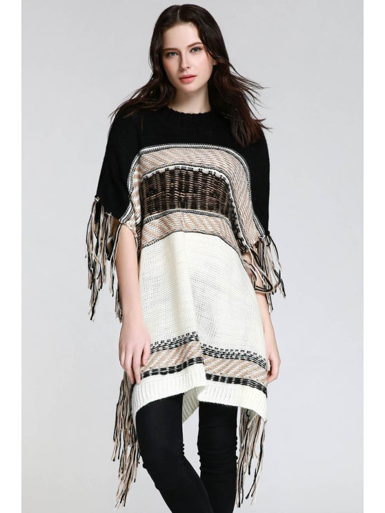 Asymmetrical Fringe Batwing Sleeve Sweater - WHITE AND BLACK S Mobile