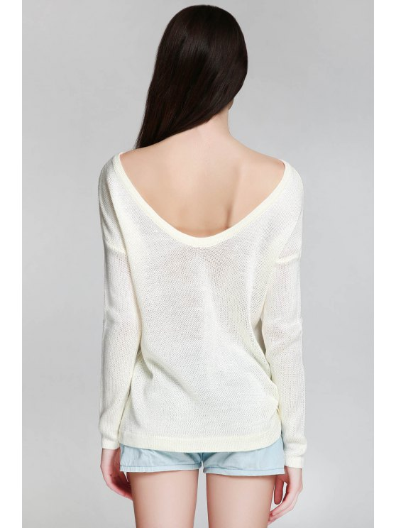 One Shoulder White Backless Long Sleeve Sweater - WHITE ONE SIZE(FIT SIZE XS TO M) Mobile