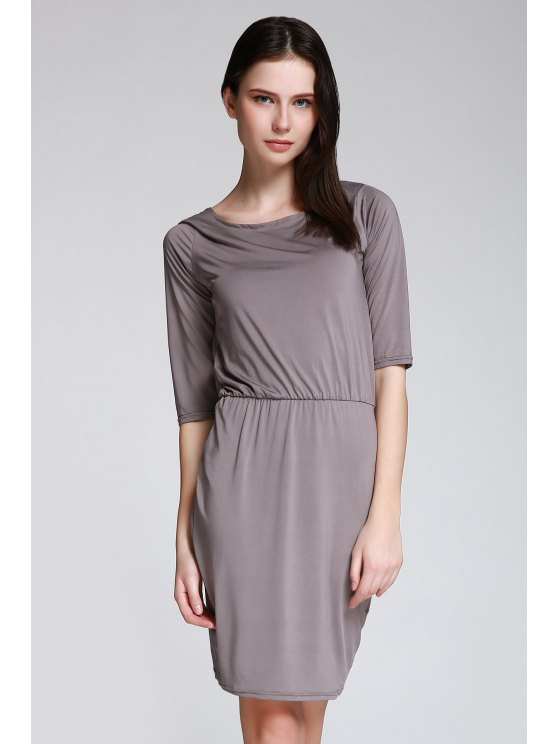 Open Back 3/4 Sleeve Bodycon Dress - GRAY M Mobile