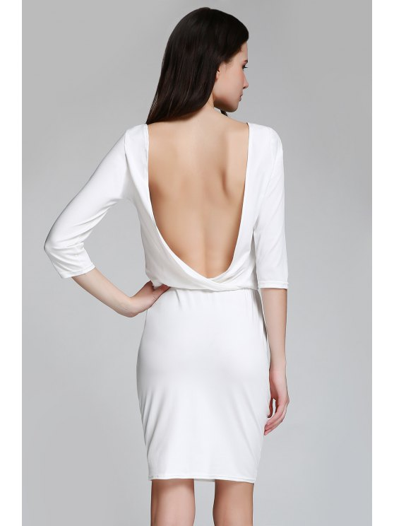 hot Open Back 3/4 Sleeve Bodycon Dress - WHITE M