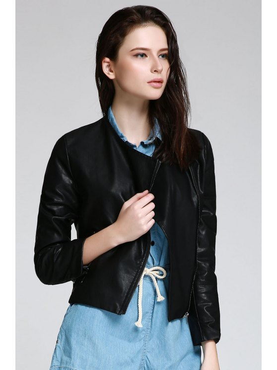 trendy Black PU Leather Turn Down Neck Jacket - BLACK S