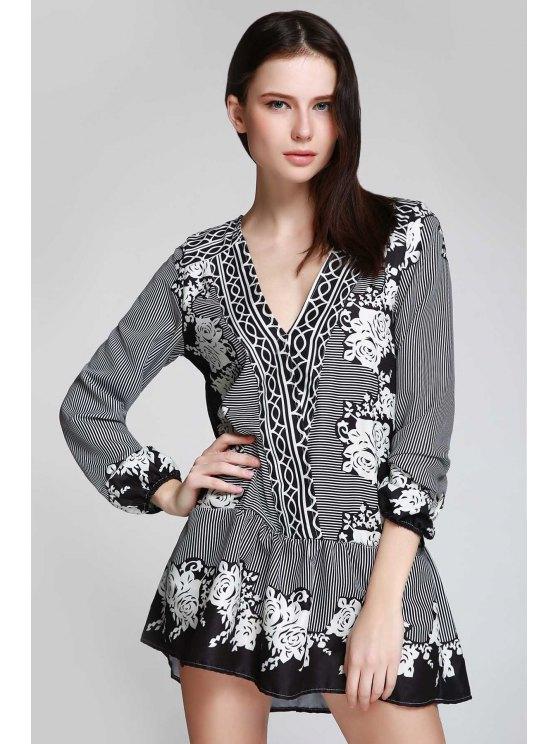 V Neck Striped Floral Flare Dress - BLACK L Mobile