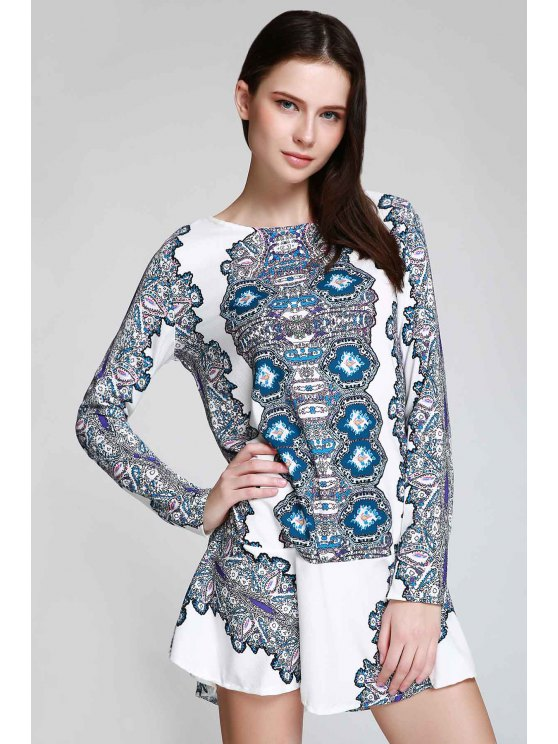 Long Sleeve Printed Tunic Dress - WHITE S Mobile