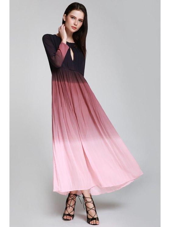 new Keyhole Ombre Color Prom Dress - PINK S