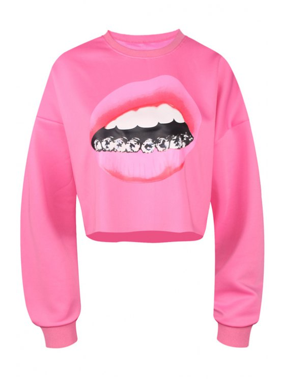 best Lip Print Long Sleeve Cropped Sweatshirt - PLUM M