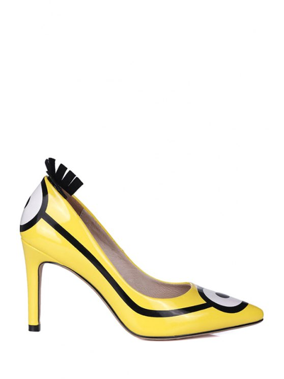 Pointed Toe Minions Print Stiletto Heel Pumps - Amarillo 34