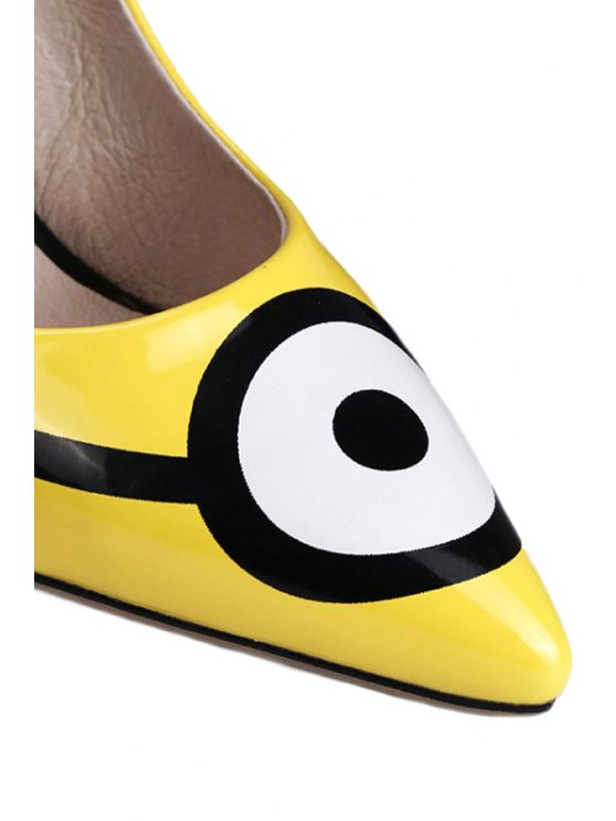 Pointed Toe Minions Print Stiletto Heel Pumps - YELLOW 34 Mobile