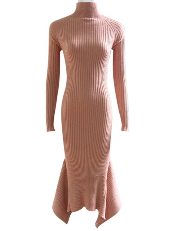 lady Lace Up Cut Out Solid Color Mermaid Dress - SHALLOW PINK M