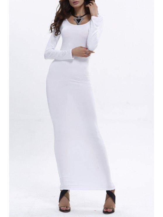 shop Bodycon Scoop Neck Long Sleeve Maxi Dress - WHITE XL