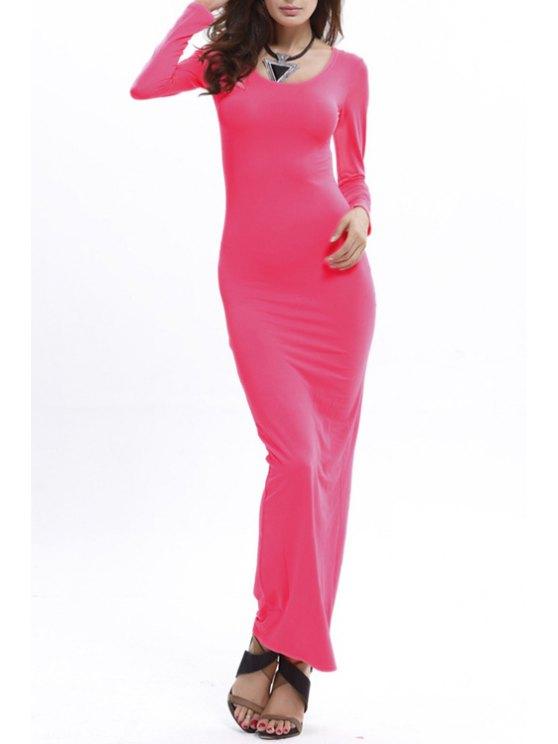 buy Bodycon Scoop Neck Long Sleeve Maxi Dress - ROSE XL
