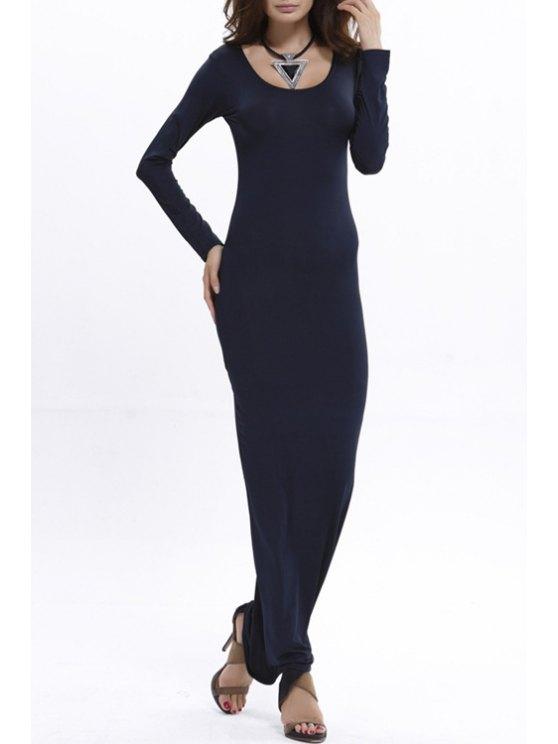 women Bodycon Scoop Neck Long Sleeve Maxi Dress - BLUE M