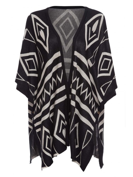 affordable Asymmetric Batwing Sleeves Loose-Fitting Cape Cardigan - BLACK ONE SIZE(FIT SIZE XS TO M)
