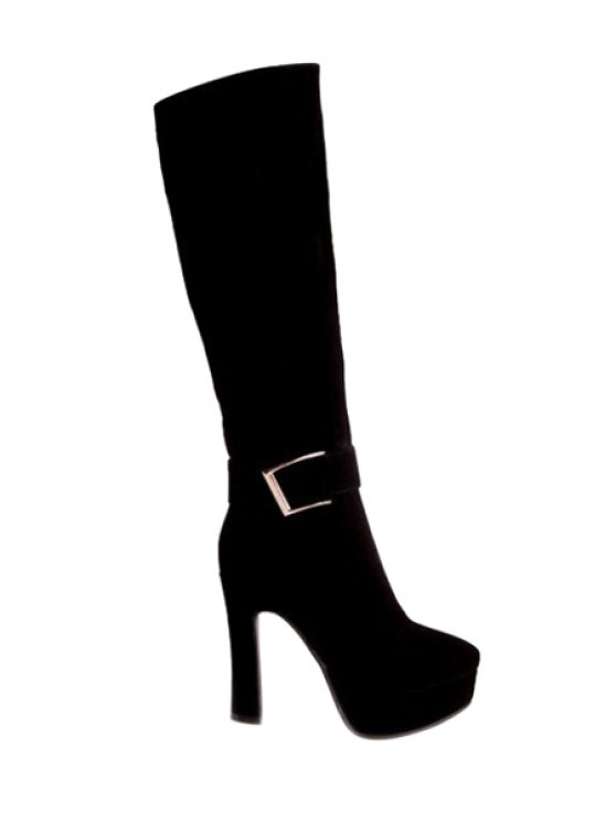 fashion Suede Buckle Chunky Heel Mid-Calf Boots - BLACK 35