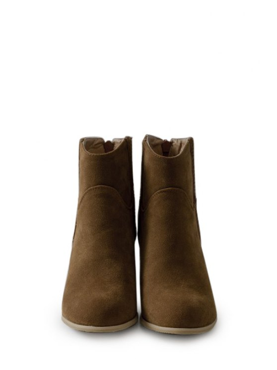 Dark Color Chunky Heel Suede Short Boots - BROWN 37 Mobile