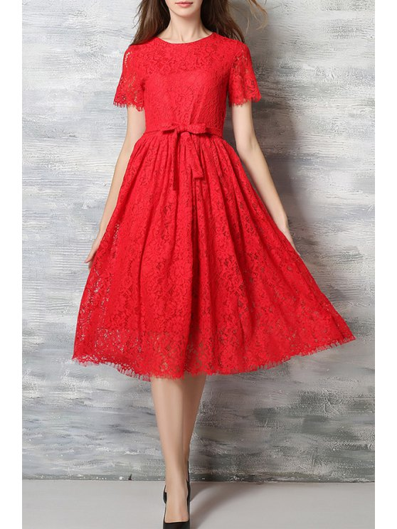 ladies Lace Round Neck Short Sleeve A Line Dress - RED M