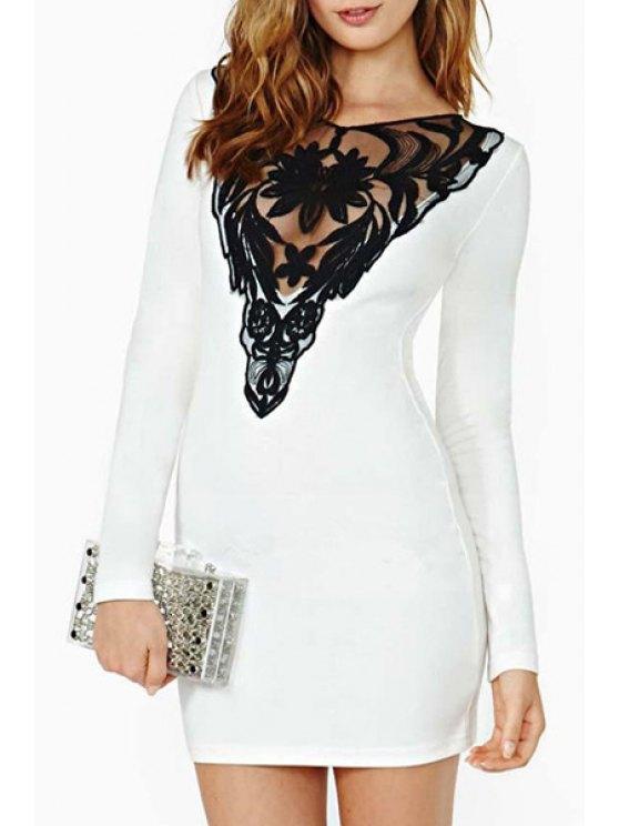 best Lace Hook Spliced V-Neck Long Sleeve Dress - WHITE S