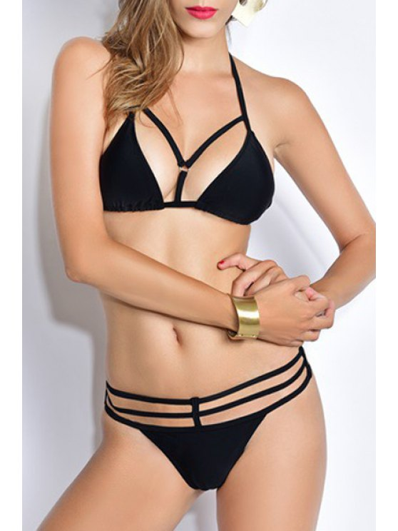 Sin espalda halter atan para arriba Negro Set Bikini - Negro L