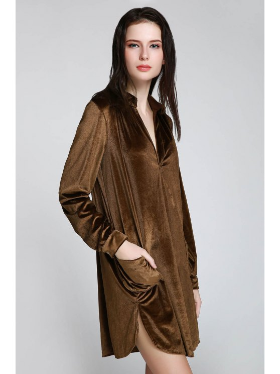 Cozy Velvet Long Sleeve Shirt Dress - BROWN S Mobile