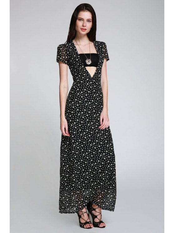 hot Full Star Print Maxi Plunge Dress - BLACK M