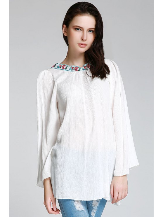 lady Backless Embroidery Print Round Collar Loose Fitting T-Shirt - WHITE ONE SIZE(FIT SIZE XS TO M)