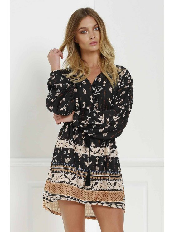 Retro Print V Neck Long Sleeves Dress - BLACK S Mobile