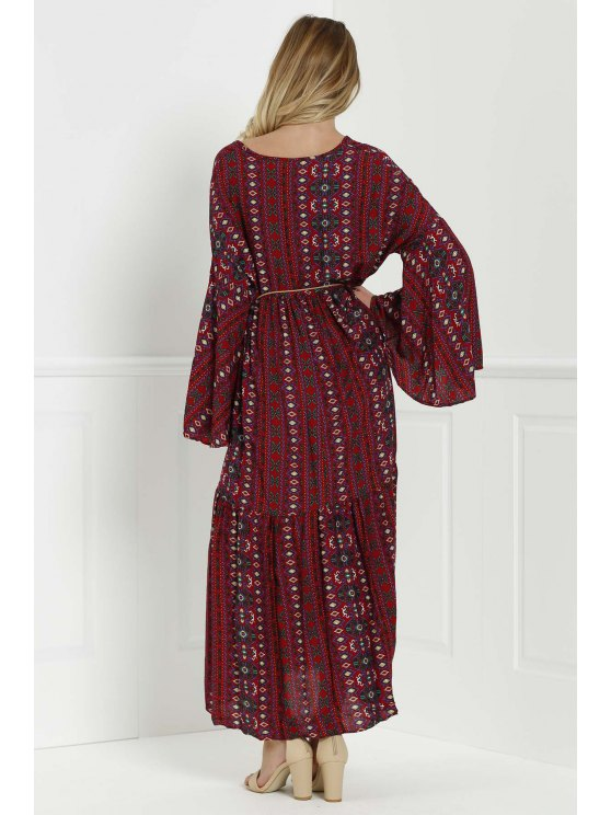 Bell Sleeve Tribal Pattern Print Dress - RED M Mobile