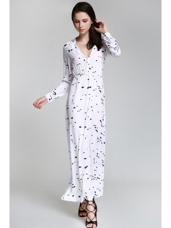 Ink Print Shirt Neck Long Sleeve Maxi Dress - WHITE S Mobile