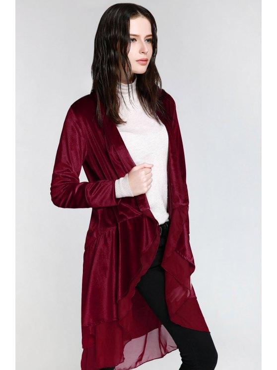Swingy Velvet Long Sleeve Coat - CLARET M Mobile