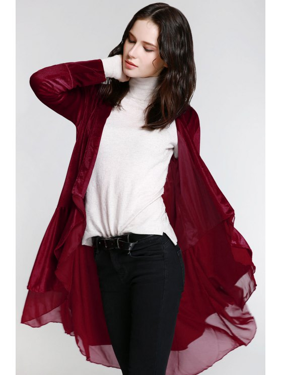 lady Swingy Velvet Long Sleeve Coat - CLARET L