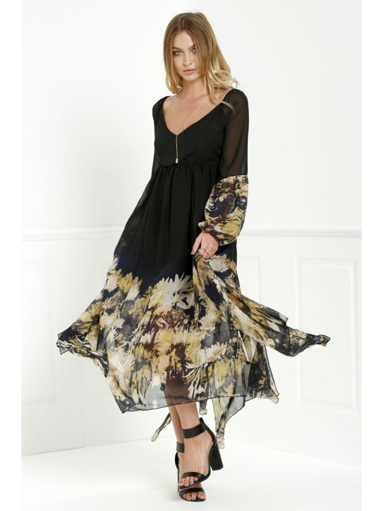 affordable Long Sleeve Printed Maxi Chiffon Dress - BLACK M