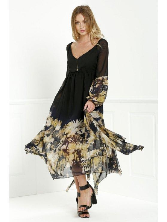 lady Long Sleeve Printed Maxi Chiffon Dress - BLACK XL