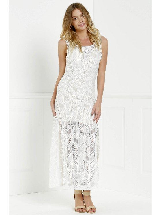 Hollow Back Openwork Lace Hook Slit Dress - WHITE M Mobile