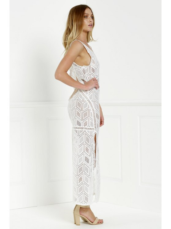 Hollow Back Openwork Lace Hook Slit Dress - WHITE XL Mobile