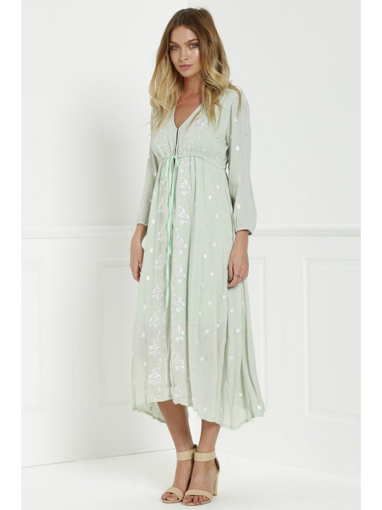 Midi Floral Embroidered Dress - SAGE GREEN S Mobile