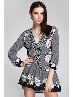 V Neck Striped Floral Flare Dress - Black S