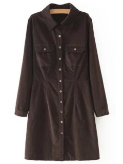 Corduroy Slimming Long Sleeve Shirt Collar Dress - Coffee L