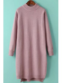 Solid Color Side Slit High Low Hem Sweater Dress - Pink