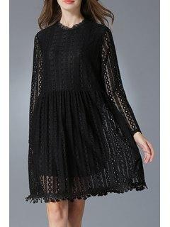 Lace Round Neck Long Sleeve Dress - Black 3xl