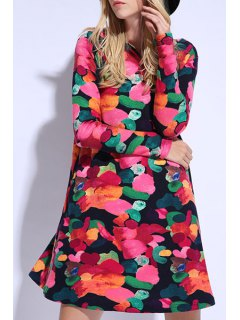 Colorful Print Long Sleeve Dress - Red Xl