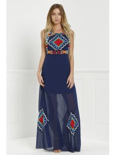 Floral Print Color Block Sleeveless Maxi Dress - Purplish Blue M